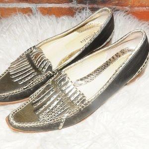 Filosofie di Nardini Silver Fringe Pointy Loafers